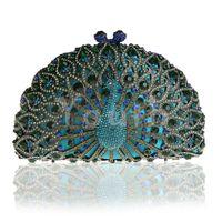 ingrosso cristallo di diamanti di pavone-Strass Peacock Evening Bag Ritaglio Telaio in lega di diamanti Clutch Encrusted Crystal Hollow Handbag Purse with Magnet Clasp - SK