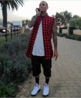 Wholesale Tyga Shirts - new casual Mens Summer Style Tyga Swag Hip Hip Hiphop Top Tees T Shirts Red Black Blue Plaid Side zipper Urban Clothing Clothes