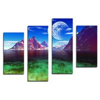 Wholesale mountain wall painting - Amosi Art-4 Pieces Home Decor Canvas Art Blue Sky The Moon And Mountain Wall Printings Night Landscape Arts(Wooden Framed)