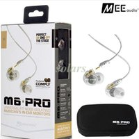 Wholesale Headphone Pro White - Hot Selling MEE Audio M6 PRO Noise Canceling 3.5mm HiFi In-Ear Monitors Earphones with Detachable Cables Sports Wired Headphones 2 Colors