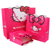 Wholesale Party Kitty - 14*15*7cm Hello Kitty Style Paper bags Gift Boxes Candy Bags Birthday Wedding Party Favors Christmas Gift Bags