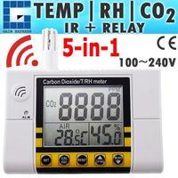 medidor de pared al por mayor-CO22 Digital Wall Mount Temperatura de la calidad del aire interior RH Dióxido de carbono CO2 Monitor del medidor Sensor del medidor 0 ~ 2000ppm Alcance