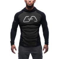 Wholesale Discount Hoodies Sport - Wholesale-Men Cotton Hoodie Sweatshirts Fitness Clothes Gym Snapback Hoodies Bodybuilding Pullover Discount Sweatshirt Jogging Sport Boys