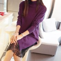 Wholesale Grey Black Sweater Dress - Wholesale- 2017 Women Fashion Long Sweater Female Turtleneck Sweater Purple Grey Black Lace Dress Sweater
