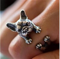 Wholesale Mixed Silver Jewerly - LBS Vintage bulldog rings Dachshund Dog jewerly Gun Black   Antique Silver   Antique Bronze Sausage Dog Ring