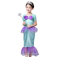Wholesale New Mermaid Costumes - 2016 New high quality Children Kids Cosplay Dresses Mermaid Costume Princess Wear Perform Clothes kids Christmas Party dress A5191