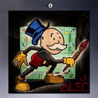 Wholesale Painting Frame Boards - board,High Quality genuine Hand Painted Wall Decor Alec monopoly Graffiti Pop Art Oil Painting On Quality Thick Canvas Multi Size
