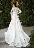 Wholesale Wedding Dress Short Sleeved - long sleeved simple summer country wedding dresses 2018 eva lendal lace bodice satin skirt v neckline chapel train muslim wedding gowns