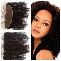 verlängerung haar schwarze lockige stücke großhandel-Braizlian Haarbündel Menschliches natürliches schwarzes Haarteil G-EASY Haarverlängerungen Färbbarer Rabatt-Spitze-Verschluss Kinky Curly