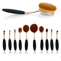 Wholesale Wholesale Makeup Brush Tops - 2016 Ana Oval Makeup Brush AAA New Type Makeup Brushes Set Long ABS Hardcover Top Quality Makeup Tools Kits Artificial Fibers 10PC LOT