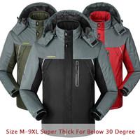 Wholesale 8xl Outdoor Jackets - Fall-6XL 7XL 8XL Winter Jacket Men Thermal Jaqueta Waterproof Thick Fleece Parka Jacket Men Outdoor Sports Ski Snow Windbreaker CF034