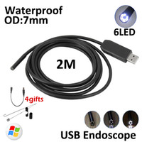 Wholesale Endoscope Snake 7mm - 6LED 7mm 2M USB Endoscope Camera Snake Tube Inspection Borescope Inspection Wire Camera With Mini Camera Mirror Hook Magnet