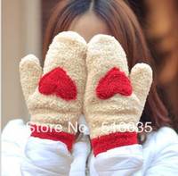 Wholesale Love Heart Mittens - Wholesale- Free shipping New arrival Hot sale New Cute Love Heart Knitted Gloves women Faux Fur Winter Spring Mittens 4 colors
