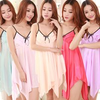 Wholesale Sexy Sleep Dress Women Lingerie - Wholesale-Sexy Women Lingerie Fashion Underwear Sleepwear Solid Silk V-neck Lace Dress Plus Size Sleep Tops For Women