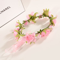 Wholesale wedding wholesale hairpieces online - Bridal floral adjustable crown hair wreath Rose Flower simple Halo Woodland Hairpiece Natural Wedding Rustic WA1374