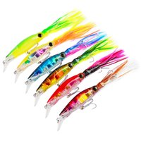 6 cores Artificial Trolling Octopus Bionic Squid Lures 14cm 40g Plastic Sleeve-Fish Fishing Lures Hard Baits