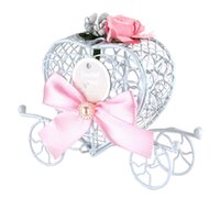 Wholesale Cinderella Carriage Candy Boxes - 5Pcs European Style Cinderella Carriage Sweet Love Heart Candy Chocolate Boxes With Art Flower Bow Birthday Wedding Party New