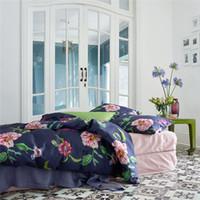 Wholesale Satin Egyptian Cotton Duvet Sets - luxury 60s egyptian cotton satin fashion bedding set king queen size doona duvet cover flat sheet pillow case 4pcs bedclothes