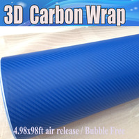 Wholesale Green Carbon Wrap - Blue 3D Carbon Fiber vinyl Car wrapping Film Air Bubble Free Car styling Free shipping thickness 0.18mm Carbon laptop covering 1.52x30m Roll