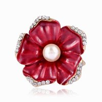 Wholesale Silk For Scarfs China - Women Lady Crystal Imitation Pearl Flower Scarf Buckle Wedding Brooch Christmas Pins for Silk Scarves Fashion Jewelry Wholesale DHH007
