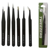 Wholesale Antistatic Repair - Cell Phone Repair Tools Black VETUS Tweezers Stainless Steel Antistatic Nipper ESD 10 11 12 13 14 15 Straigtht And Curve
