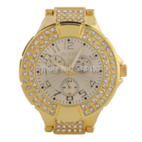 Wholesale Large Crystal Watches - Golden Case Ladies Round Bracelet Watches Bling Crystal Plated Designer Style Watch watch box for large watches
