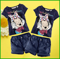Wholesale Minnie Print - 2016 new hot selling minnie mouse mickey baby girls boys suits short sleeve t-shirt pants cartoon printed children clothing set