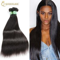 Wholesale Silky Straight Virgin Brazilian Hair - Brazilian Virgin hair Weave Bundles Silk Silky Straight 1B Double wefts Raw Unprocessed Remy human hair extension Queenlike Silver 7A Grade