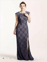Wholesale Gray Woolen Cap - 2016 Plus Size Side Split Bridesmaid Dresses Long Lace Cap Sleeve Dress with sequins decoration and Keyhole Back 3329MT4D Gowns