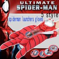 ingrosso tipo trasformatore-Spider Man Toys Guanti Emettitore Freccette Giocattoli Espulsione Polso Catapulta Launcher Guanti Elastici Bambini Bambini Dress Up Toys 7pcs / set WX-C11