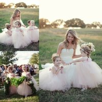 Cute Blush Pink Girl Girl Vestidos para Wedding Bow Scoop Neck Sleeveless Girls Party Veste Ankle Length Vestido Ball Ball