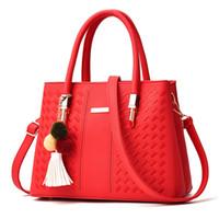 Wholesale Big Discount Bags - Wholesale 2017 new European and American big bag hair ball handbag simple female bag oblique bag free shipping promotional discount PU