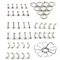 Wholesale body jewelry spike - Crystal Ball Stainless Steel Spike Labret Bar Tongue Navel Belly Button Ring Body Piercing Jewelry 30PCS Lot Mixed Colors 6 Styles