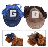 Wholesale Wholesale Corduroy Hats - Fashion Letter Breathable Corduroy Baseball Dog Caps Pet Dog Hats Large Dogs Sports Sun Hats Pet Supplies Blue Khaki G747