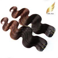 extensiones de cabello tinte por inmersión al por mayor-Ombre Hair Virgin Human Hair 1b / # 4 Paquetes de Malasia Tramas de cabello Teje 2or3or4 paquetes / lot Extensiones Bellahair DHL Dip Dye Two Tone