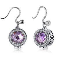 Wholesale Purple Garnet Silver Earrings - 925 Sterling Silver Dangle Earrings Vintage Style Amethyst Garnet Christmas Gifts Women Girls Party Ear Free Shipping