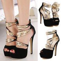 Wholesale Suede Heels Summer - Woman Suede Shoes Gold Feathers Wrap Thin High Heels Platform Open Peep Toe Stilettos Hollow Out Sandals Pumps