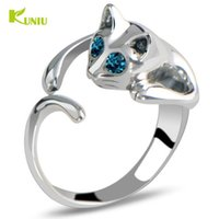 Vente en gros - KUNIU Fashion 1Piece Silver Ring Ring en couleur Cute Cat Animal Crystal Blue Eyes Ring Jewelry