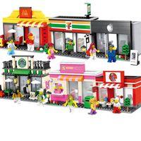 bina mağazası toptan satış-Hsanhe 6 modelleri Mini sokak Serisi mağaza dükkan Hamburger cep telefonu vb düzensiz yapı taşları Şehir sokak dükkan tuğla # 6409-1-6411-2