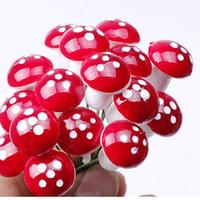 ingrosso ornamenti in miniatura-Wholesale-10Pcs Mini Red Mushroom Garden Ornament Vasi per piante in miniatura Fata casa delle bambole fai da te