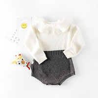 Wholesale Lycra Baby Dolls - retail Free shipping INS spring Autumn Period girl Baby baby doll collar knitting knit bundles fart Clothing baby rompers jumpsuits