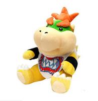 mario bros peluş oyuncaklar ücretsiz toptan satış-18 cm Süper Mario Bros Bowser JR Peluş Yumuşak Dolması Hayvanlar Doll Oyuncak Çocuklar Kız Erkek Doğum Günü Hediyesi Ücretsi ...