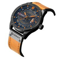 Wholesale led watches online - curren new men s watch leading brand of luxury watches men s date show leather strap quartz watch creative Relogio Hotel Masculino Curran