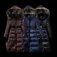 Wholesale White Long Puffer Coat - Women Jackets With Real Raccoon Fur Collar Parka Hoodie Long Sleeve Puffer Duck Down Belt Female Long Coats