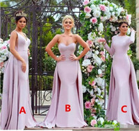 askısız pembe elbise uzun toptan satış-Şık Aplike Pembe Uzun Gelinlik Modelleri 2017 Straplez Yumuşak Saten Uzun Kollu Düğün Konuk Elbise Onur Hizmetçi törenlerinde