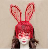 Wholesale Halloween Bunny Costume - Costume Accessories Fashion Women Girl Hair Bands Lace Rabbit Bunny Ears Veil Black Eye Mask Halloween Party Headwear Hair Accessories