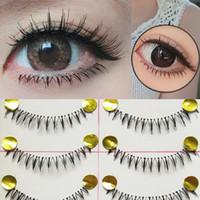 Wholesale False Bottom - Wholesale-10 Pairs Makeup Handmade Natural Under Lashes False Eyelashes Lower Bottom Eye Lashes K02