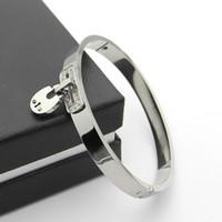 Wholesale Locking Cuffs - lock Cuff Bracelet Gold color Stainless Steel Bangles Bracelets For Women bracelet Pulseiras fashion jewelry bangles