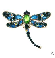broschen anhänger porzellan großhandel-Europa und die Vereinigten Staaten verkaufen hochwertige Diamant Brosche Brosche Anhänger zwei Dragonfly Tier