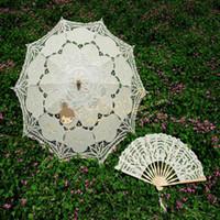 Wholesale Blue Lace Parasol - 7 colors Embroidery ivory Lace Parasols wedding Battenburg Lace Parasol and Fan Sun Umbrella Set Bride Adult size Vintage cancan